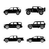 Μαύρα αυτοκίνητα σκιαγραφιών στο άσπρο υπόβαθρο Στοκ φωτογραφίες με δικαίωμα ελεύθερης χρήσης