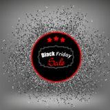 Μαύρα αυτοκόλλητη ετικέττα και κομφετί Παρασκευής Στοκ φωτογραφίες με δικαίωμα ελεύθερης χρήσης
