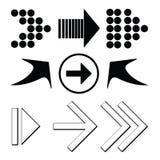 Μαύρα βέλη καθορισμένα Στοκ Εικόνα