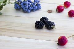 Μαύρα βατόμουρα, μήλα και μούρα Στοκ Εικόνες
