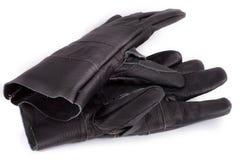 Μαύρα γάντια εργασίας στο άσπρο υπόβαθρο Στοκ Εικόνες