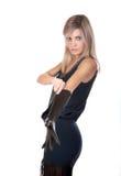 μαύρα γάντια κοριτσιών φορ&eps Στοκ εικόνα με δικαίωμα ελεύθερης χρήσης