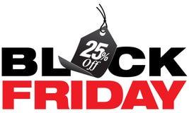 Μαύρα είκοσι πέντε τοις εκατό Παρασκευής από την πώληση Στοκ Εικόνες