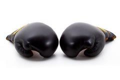 μαύρα εγκιβωτίζοντας γάντια δύο Στοκ Εικόνες