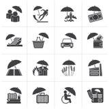 Μαύρα εικονίδια ασφάλειας, κινδύνου και επιχειρήσεων απεικόνιση αποθεμάτων