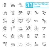 Μαύρα εικονίδια γραμμών barbershop Λεπτά εικονίδια γραμμών στοκ φωτογραφία με δικαίωμα ελεύθερης χρήσης