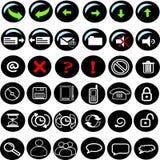 μαύρα εικονίδια Διαδίκτ&upsilon Στοκ Φωτογραφία