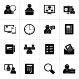 Μαύρα εικονίδια διαχείρισης επιχειρήσεων, παρουσίασης και του προγράμματος διανυσματική απεικόνιση