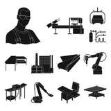 Μαύρα εικονίδια εξοπλισμού και μηχανών στην καθορισμένη συλλογή για το σχέδιο Τεχνική πρόοδος του διανυσματικού Ιστού αποθεμάτων  διανυσματική απεικόνιση