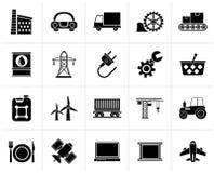 Μαύρα εικονίδια επιχειρήσεων και βιομηχανίας διανυσματική απεικόνιση