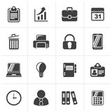 Μαύρα εικονίδια επιχειρήσεων και γραφείων διανυσματική απεικόνιση