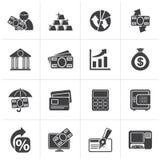 Μαύρα εικονίδια τράπεζας, επιχειρήσεων και χρηματοδότησης διανυσματική απεικόνιση