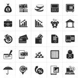 Μαύρα εικονίδια τράπεζας, επιχειρήσεων και χρηματοδότησης ελεύθερη απεικόνιση δικαιώματος