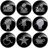 μαύρα εικονίδια Στοκ φωτογραφία με δικαίωμα ελεύθερης χρήσης