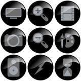 μαύρα εικονίδια Στοκ Φωτογραφίες