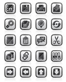 Μαύρα εικονίδια άσπρα Διαδικτύου διεπαφών Στοκ Εικόνες