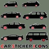 Μαύρα εικονίδια αυτοκόλλητων ετικεττών αυτοκινήτων χρώματος Στοκ Εικόνα