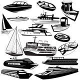 Μαύρα εικονίδια βαρκών Στοκ Εικόνες