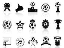 Μαύρα εικονίδια βραβείων ποδοσφαίρου καθορισμένα Στοκ Εικόνες