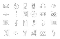 Μαύρα εικονίδια μουσικής καθορισμένα Στοκ Φωτογραφίες