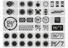 Μαύρα εικονίδια ρολογιών στα γκρίζα τετράγωνα, βέλη, 24 ώρες την ημέρα και 7 ημέρες την εβδομάδα, συρμένα χέρι ψηφία, σημάδια καθ ελεύθερη απεικόνιση δικαιώματος