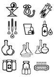 Μαύρα εικονίδια σκίτσων περιλήψεων της ιατρικής ή των φαρμάκων Στοκ φωτογραφία με δικαίωμα ελεύθερης χρήσης
