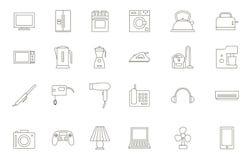 Μαύρα εικονίδια συσκευών καθορισμένα Στοκ Εικόνες