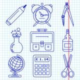 Μαύρα εικονίδια σχολικών αγαθών Μέρος 1 διανυσματική απεικόνιση