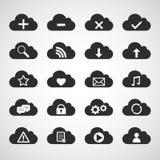 Μαύρα εικονίδια σύννεφων καθορισμένα Στοκ Φωτογραφία