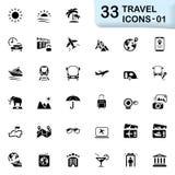 33 μαύρα εικονίδια 01 ταξιδιού Στοκ φωτογραφίες με δικαίωμα ελεύθερης χρήσης