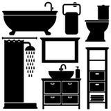 Μαύρα εικονίδια τουαλετών λουτρών καθορισμένα, σκιαγραφίες στο άσπρο υπόβαθρο, απεικόνιση Στοκ εικόνες με δικαίωμα ελεύθερης χρήσης