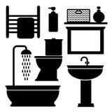Μαύρα εικονίδια τουαλετών λουτρών καθορισμένα, Στοκ Εικόνες