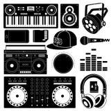 Μαύρα εικονίδια υγιούς εξοπλισμού του DJ Στοκ Εικόνα