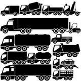 Μαύρα εικονίδια φορτηγών χρώματος Στοκ Φωτογραφία