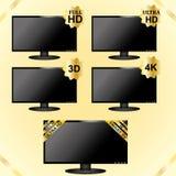 Μαύρα εικονίδια TV LCD Στοκ εικόνα με δικαίωμα ελεύθερης χρήσης