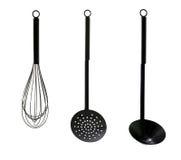 μαύρα εργαλεία κουζινών Στοκ Φωτογραφία