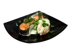 μαύρα θαλασσινά πιάτων Στοκ Εικόνες