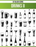 Μαύρα καθορισμένα ποτά ΙΙ εικονιδίων ελεύθερη απεικόνιση δικαιώματος