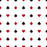 Μαύρα και κόκκινα κοστούμια καρτών στο άσπρο υπόβαθρο επίσης corel σύρετε το διάνυσμα απεικόνισης διανυσματική απεικόνιση