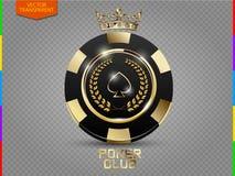 Μαύρα και χρυσά διάνυσμα & x28 τσιπ VIP πόκερ διαφάνεια με το πρόσθετο σχήμα only& x29  Στοκ φωτογραφία με δικαίωμα ελεύθερης χρήσης