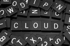 Μαύρα κεραμίδια επιστολών που συλλαβίζουν τη λέξη & x22 cloud& x22  Στοκ Εικόνα