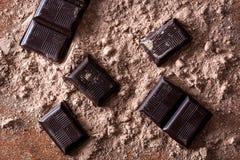 Μαύρα κομμάτια σοκολάτας στη σκόνη σοκολάτας Στοκ εικόνα με δικαίωμα ελεύθερης χρήσης