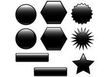 μαύρα κουμπιά στιλπνά Στοκ φωτογραφία με δικαίωμα ελεύθερης χρήσης