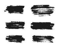 Μαύρα κτυπήματα βουρτσών μελανιού, χρωματισμένη χέρι διανυσματική απεικόνιση Στοκ Φωτογραφία