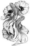 Μαύρα λεπτομερή μελάνι ψάρια δερματοστιξιών στη Floral σύνθεση απεικόνιση αποθεμάτων