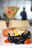 Μαύρα μακαρόνια με τη σάλτσα κρέμας Στοκ φωτογραφίες με δικαίωμα ελεύθερης χρήσης