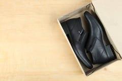 Μαύρα παπούτσια ατόμων ` s δέρματος Στοκ φωτογραφία με δικαίωμα ελεύθερης χρήσης