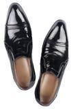 Μαύρα παπούτσια δέρματος διπλωμάτων ευρεσιτεχνίας   Στοκ Εικόνα