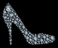 μαύρα παπούτσια διαμαντιών &a Στοκ Εικόνα