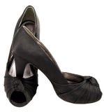 μαύρα παπούτσια σατέν Στοκ Φωτογραφία